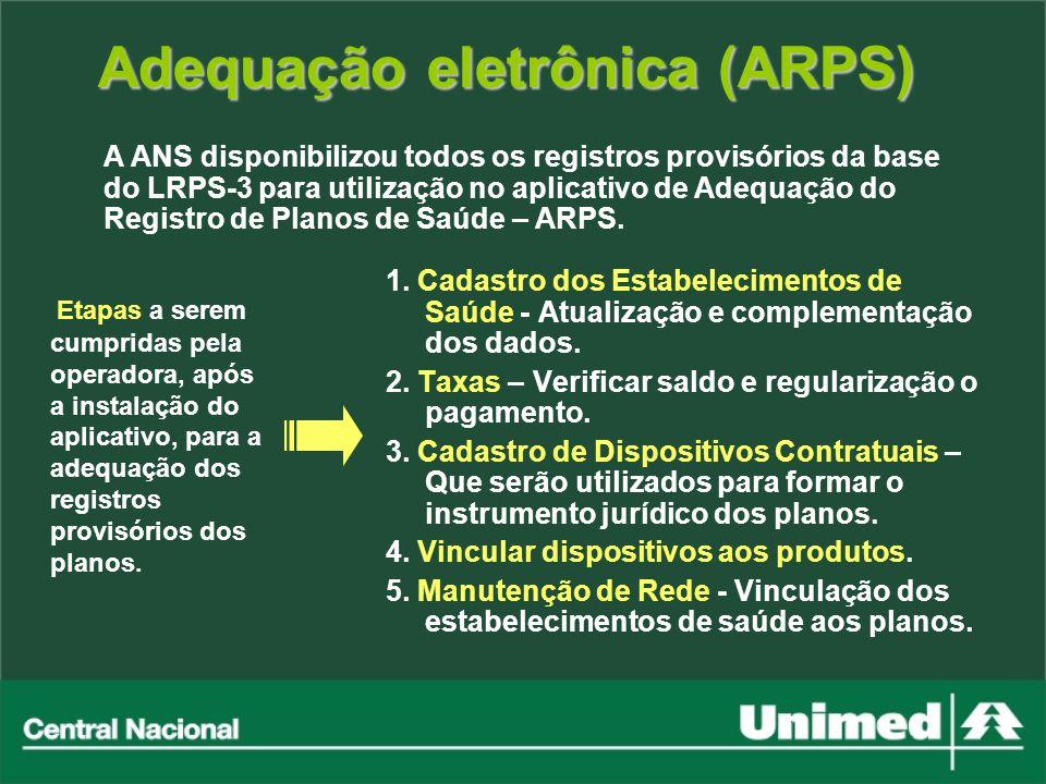 Adequação eletrônica (ARPS) Etapas a serem cumpridas pela operadora, após a instalação do aplicativo, para a adequação dos registros provisórios dos p