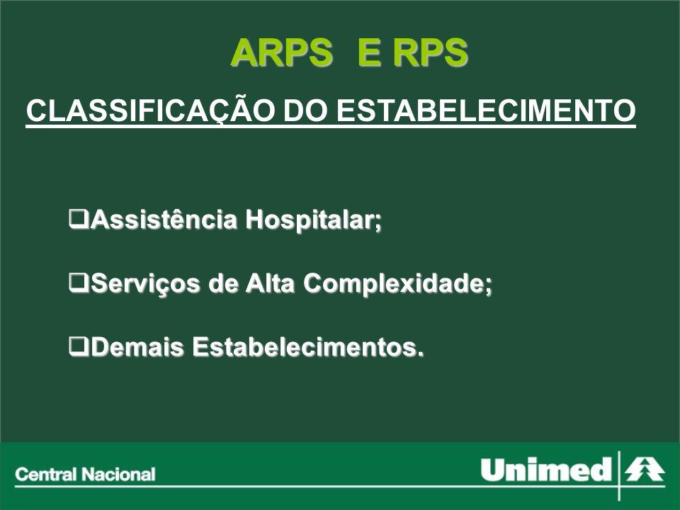 ARPS E RPS CLASSIFICAÇÃO DO ESTABELECIMENTO Assistência Hospitalar; Assistência Hospitalar; Serviços de Alta Complexidade; Serviços de Alta Complexida