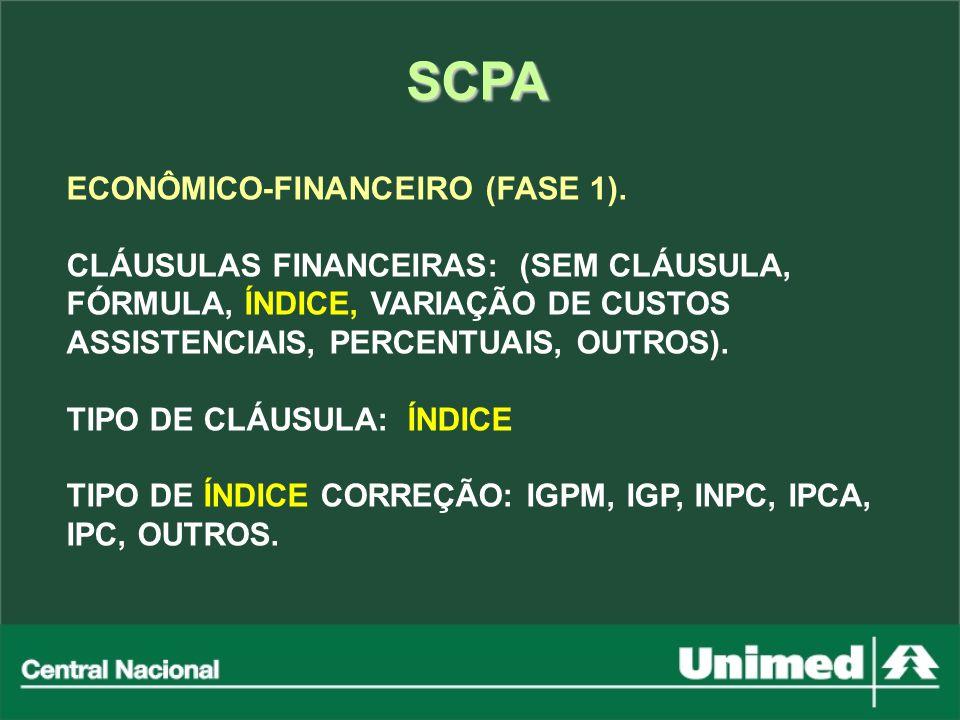 SCPA ECONÔMICO-FINANCEIRO (FASE 1). CLÁUSULAS FINANCEIRAS: (SEM CLÁUSULA, FÓRMULA, ÍNDICE, VARIAÇÃO DE CUSTOS ASSISTENCIAIS, PERCENTUAIS, OUTROS). TIP