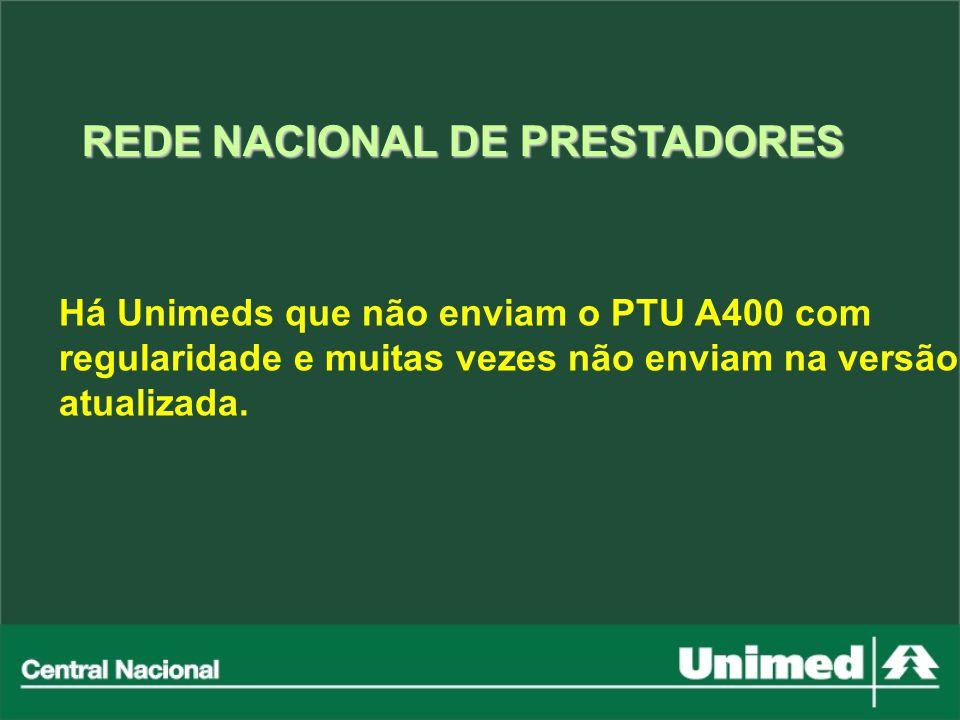 Há Unimeds que não enviam o PTU A400 com regularidade e muitas vezes não enviam na versão atualizada. REDE NACIONAL DE PRESTADORES