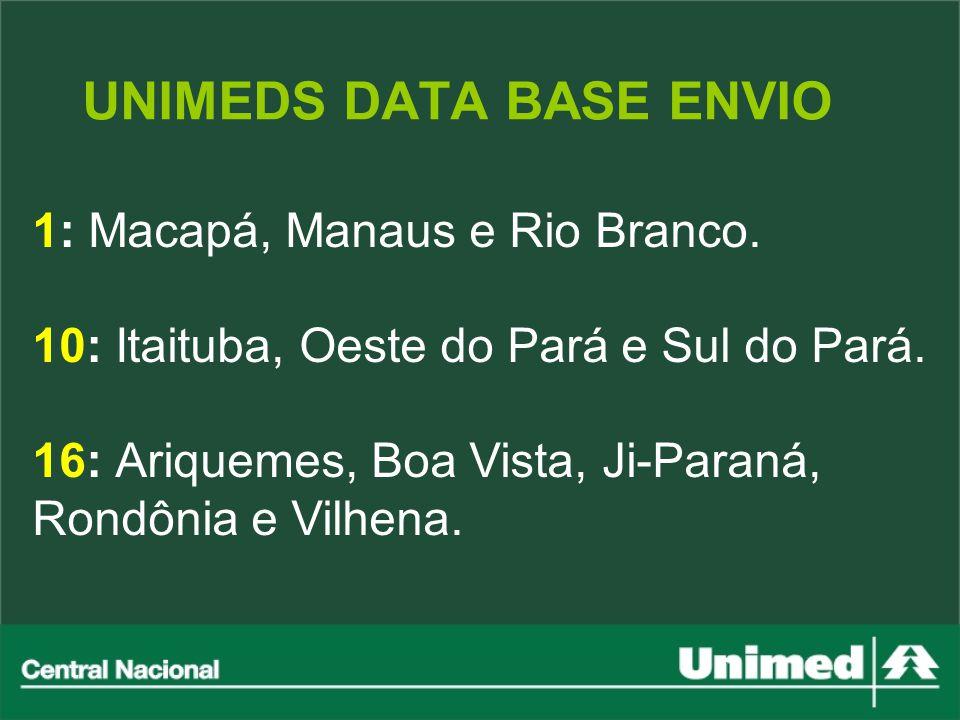 UNIMEDS DATA BASE ENVIO 1: Macapá, Manaus e Rio Branco. 10: Itaituba, Oeste do Pará e Sul do Pará. 16: Ariquemes, Boa Vista, Ji-Paraná, Rondônia e Vil