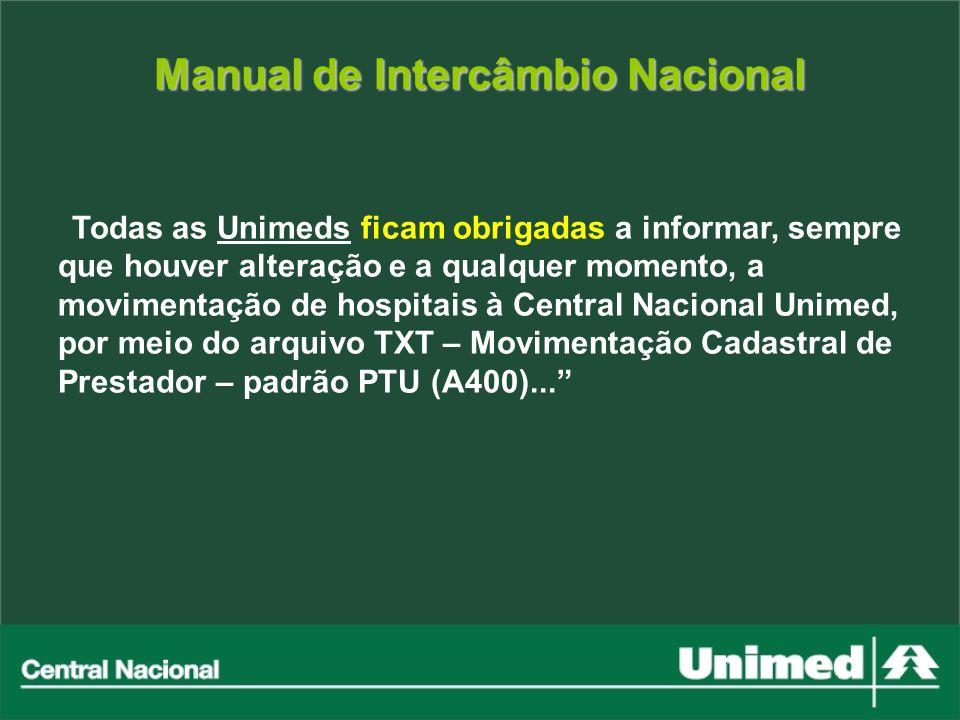 Manual de Intercâmbio Nacional Todas as Unimeds ficam obrigadas a informar, sempre que houver alteração e a qualquer momento, a movimentação de hospit