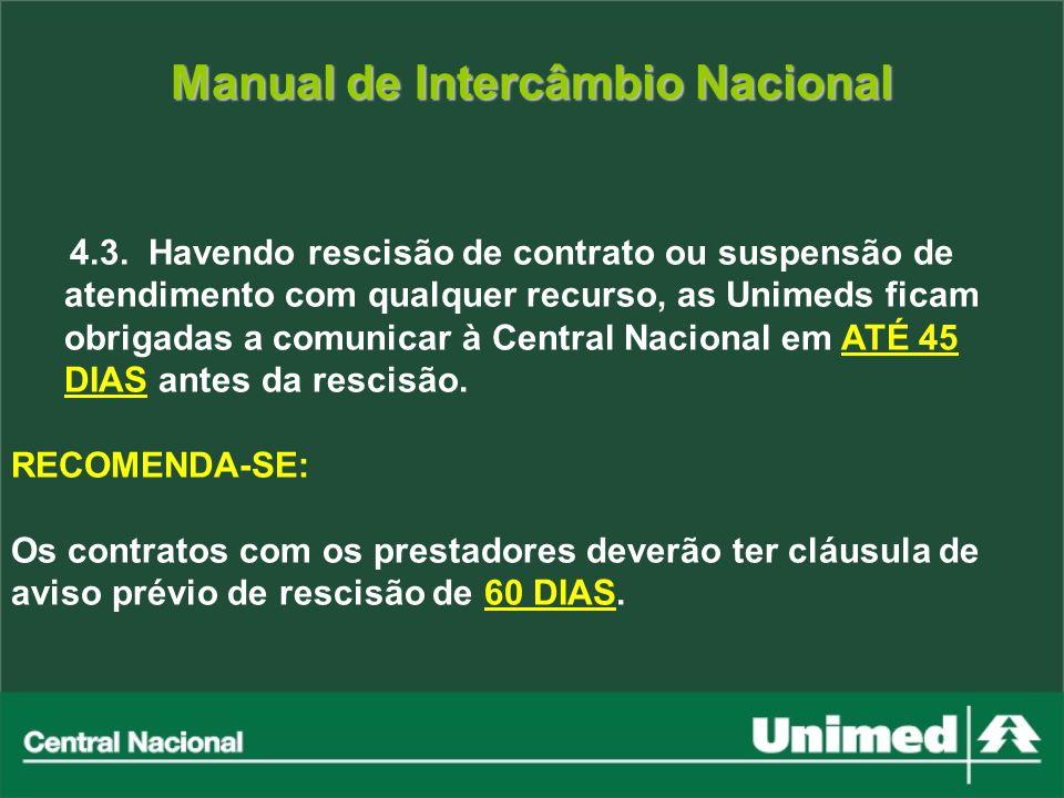 Manual de Intercâmbio Nacional 4.3. Havendo rescisão de contrato ou suspensão de atendimento com qualquer recurso, as Unimeds ficam obrigadas a comuni