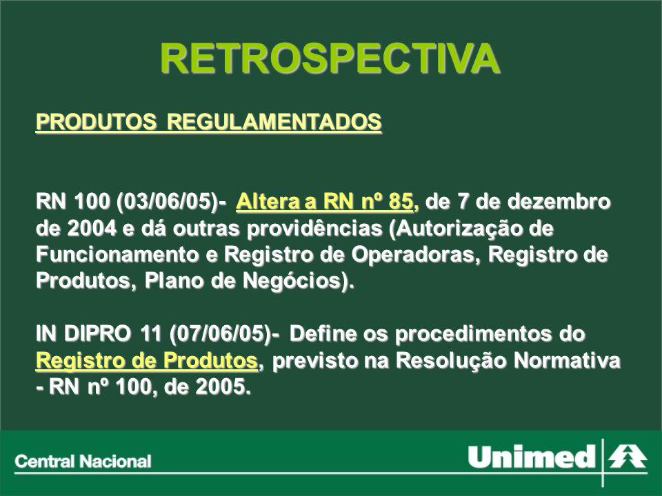 RETROSPECTIVA PRODUTOS REGULAMENTADOS RN 100 (03/06/05)- Altera a RN nº 85, de 7 de dezembro de 2004 e dá outras providências (Autorização de Funciona