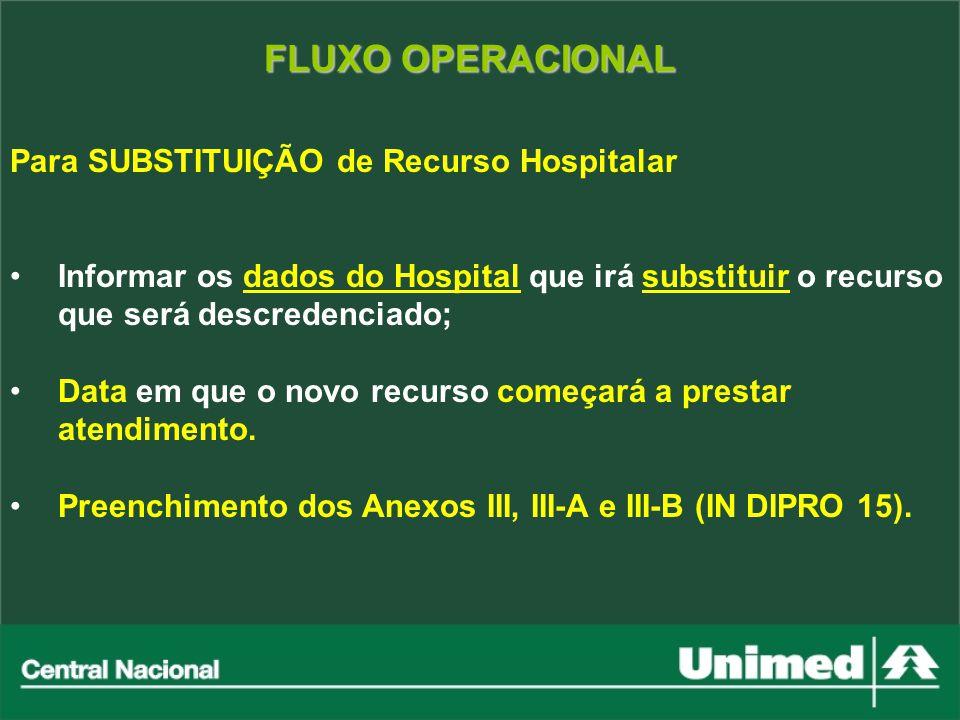 FLUXO OPERACIONAL Para SUBSTITUIÇÃO de Recurso Hospitalar Informar os dados do Hospital que irá substituir o recurso que será descredenciado; Data em