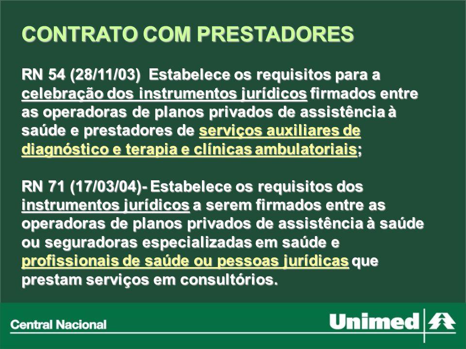 CONTRATO COM PRESTADORES RN 54 (28/11/03) Estabelece os requisitos para a celebração dos instrumentos jurídicos firmados entre as operadoras de planos