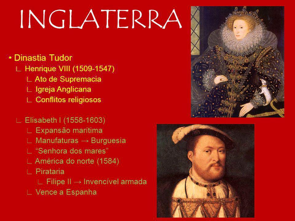 INGLATERRA Dinastia Tudor Henrique VIII (1509-1547) Ato de Supremacia Igreja Anglicana Conflitos religiosos Elisabeth I (1558-1603) Expansão marítima Manufaturas Burguesia Senhora dos mares América do norte (1584) Pirataria Filipe II Invencível armada Vence a Espanha
