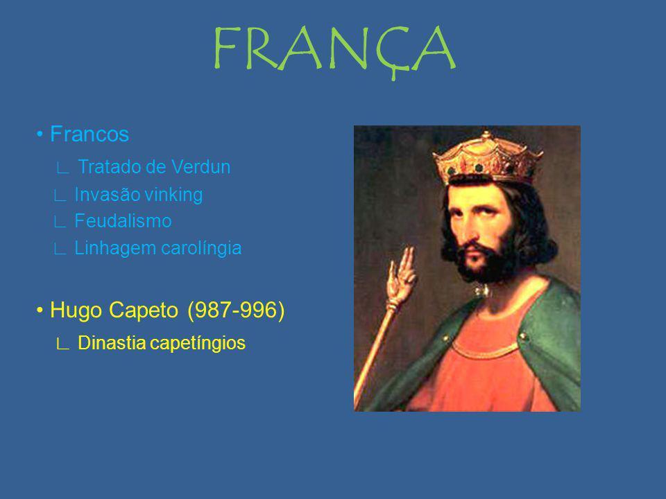 FRANÇA Francos Tratado de Verdun Invasão vinking Feudalismo Linhagem carolíngia Hugo Capeto (987-996) Dinastia capetíngios