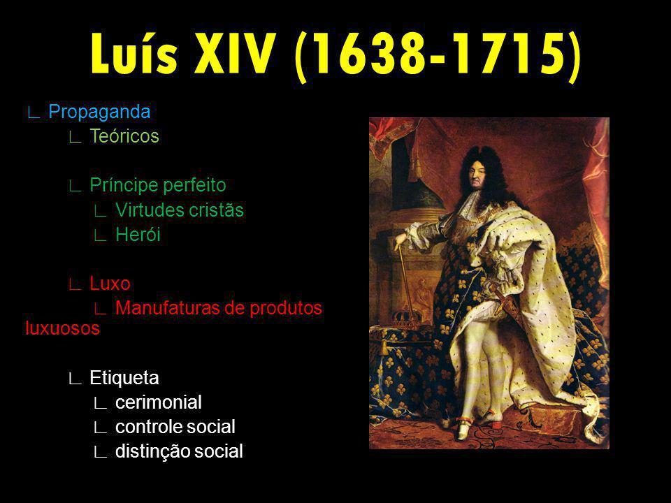 Luís XIV (1638-1715) Propaganda Teóricos Príncipe perfeito Virtudes cristãs Herói Luxo Manufaturas de produtos luxuosos Etiqueta cerimonial controle social distinção social