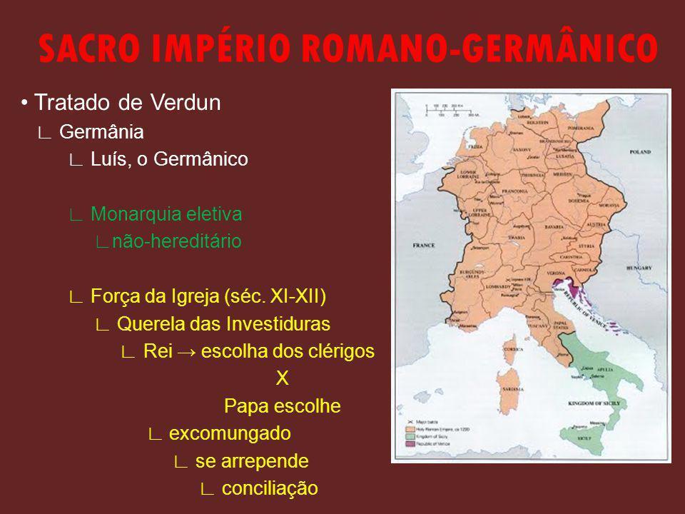SACRO IMPÉRIO ROMANO-GERMÂNICO Tratado de Verdun Germânia Luís, o Germânico Monarquia eletiva não-hereditário Força da Igreja (séc.