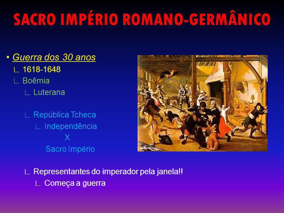 SACRO IMPÉRIO ROMANO-GERMÂNICO Guerra dos 30 anos 1618-1648 Boêmia Luterana República Tcheca Independência X Sacro Império Representantes do imperador pela janela!.
