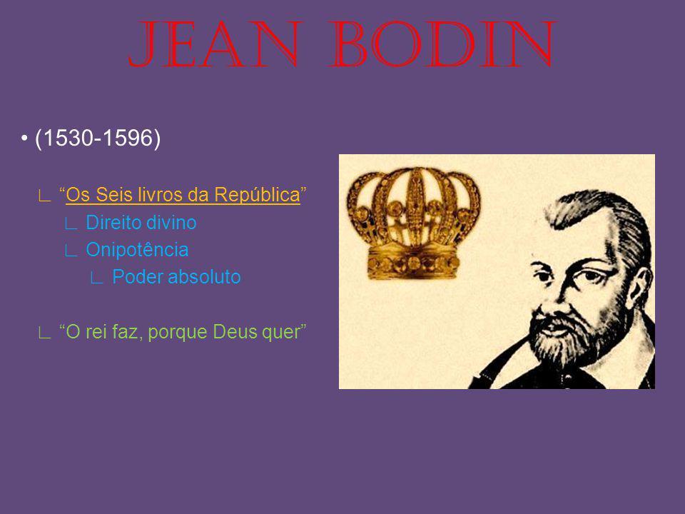 JEAN BODIN (1530-1596) Os Seis livros da República Direito divino Onipotência Poder absoluto O rei faz, porque Deus quer
