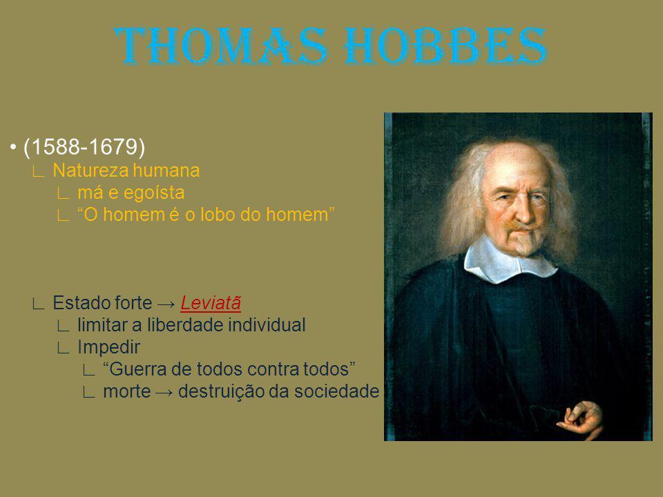 THOMAS HOBBES (1588-1679) Natureza humana má e egoísta O homem é o lobo do homem Estado forte Leviatã limitar a liberdade individual Impedir Guerra de todos contra todos morte destruição da sociedade