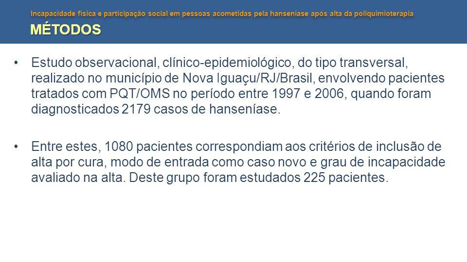 Incapacidade física e participação social em pessoas acometidas pela hanseníase após alta da poliquimioterapia MÉTODOS Estudo observacional, clínico-e