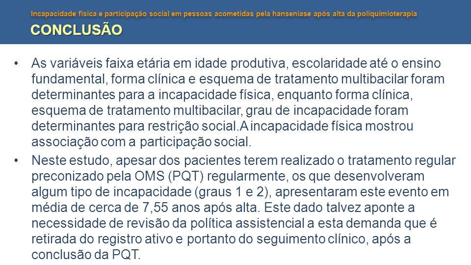 Incapacidade física e participação social em pessoas acometidas pela hanseníase após alta da poliquimioterapia CONCLUSÃO As variáveis faixa etária em