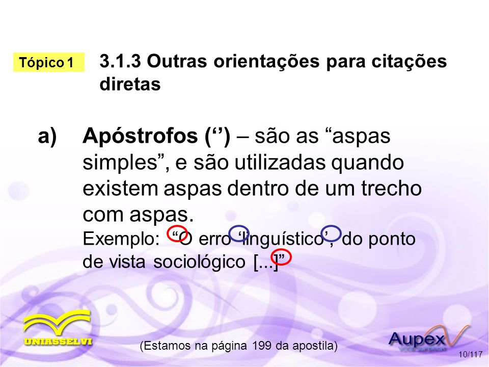3.1.3 Outras orientações para citações diretas a)Apóstrofos () – são as aspas simples, e são utilizadas quando existem aspas dentro de um trecho com a