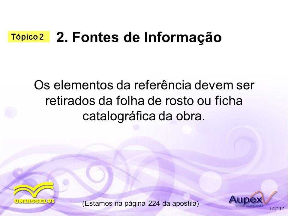 2. Fontes de Informação Os elementos da referência devem ser retirados da folha de rosto ou ficha catalográfica da obra. (Estamos na página 224 da apo