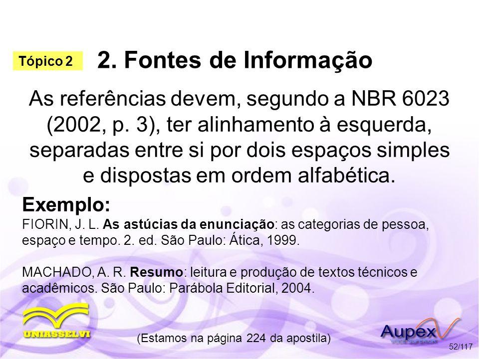 2. Fontes de Informação As referências devem, segundo a NBR 6023 (2002, p. 3), ter alinhamento à esquerda, separadas entre si por dois espaços simples
