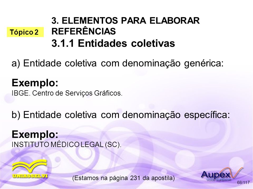 3. ELEMENTOS PARA ELABORAR REFERÊNCIAS 3.1.1 Entidades coletivas a) Entidade coletiva com denominação genérica: (Estamos na página 231 da apostila) 68