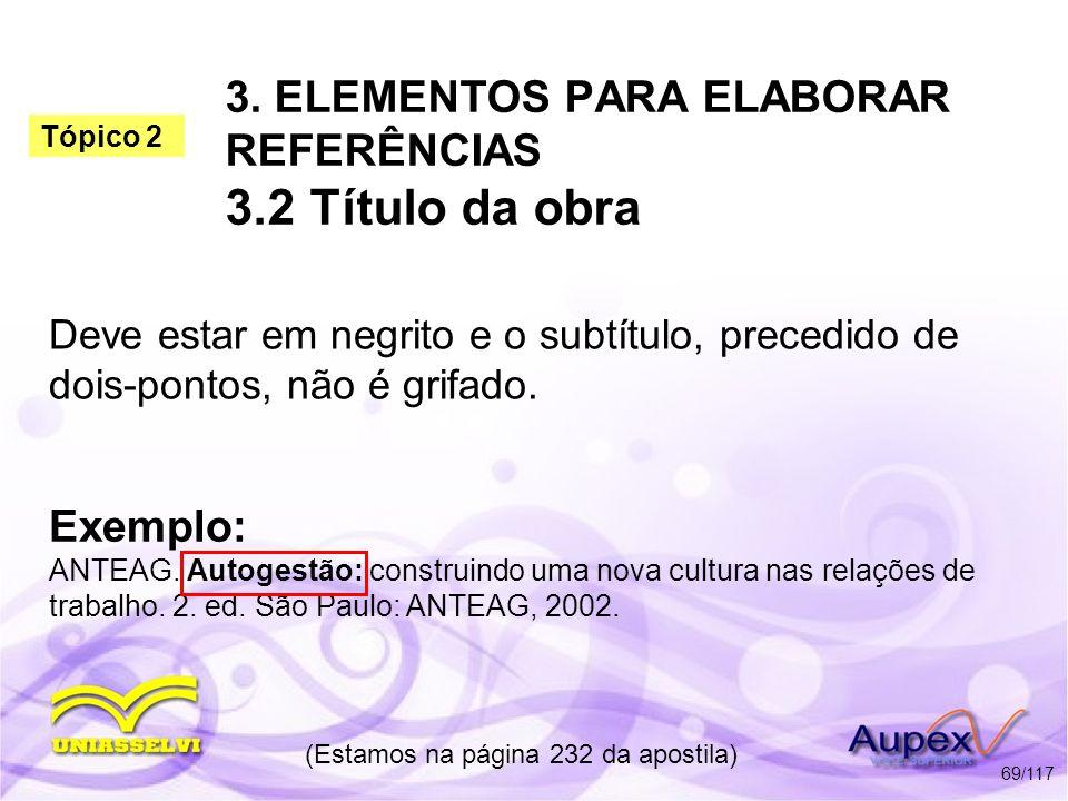 3. ELEMENTOS PARA ELABORAR REFERÊNCIAS 3.2 Título da obra Deve estar em negrito e o subtítulo, precedido de dois-pontos, não é grifado. (Estamos na pá