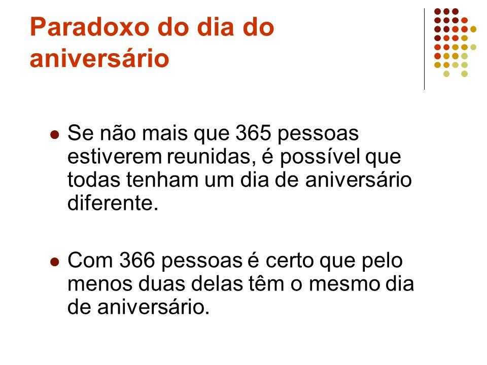 Paradoxo do dia do aniversário Se não mais que 365 pessoas estiverem reunidas, é possível que todas tenham um dia de aniversário diferente. Com 366 pe