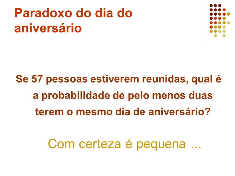 Paradoxo do dia do aniversário Se 57 pessoas estiverem reunidas, qual é a probabilidade de pelo menos duas terem o mesmo dia de aniversário? Com certe
