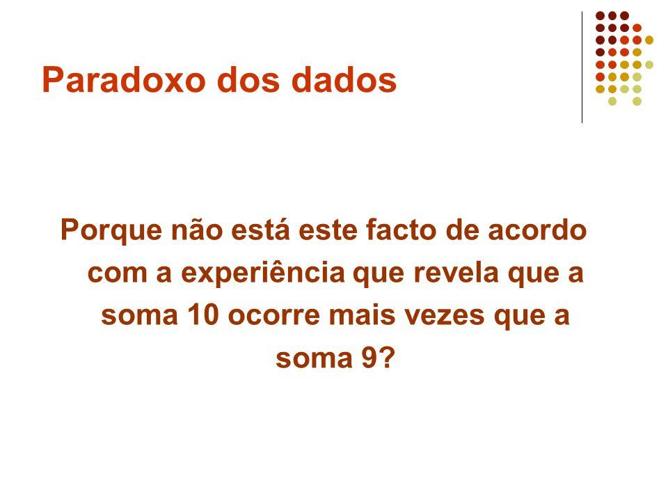 Paradoxo dos dados Cardano (1501-1576) Livro sobre jogos de azar (escrito em 1526, publicado em 1663) Este problema foi estudado por gente famosa: Girolamo Cardano