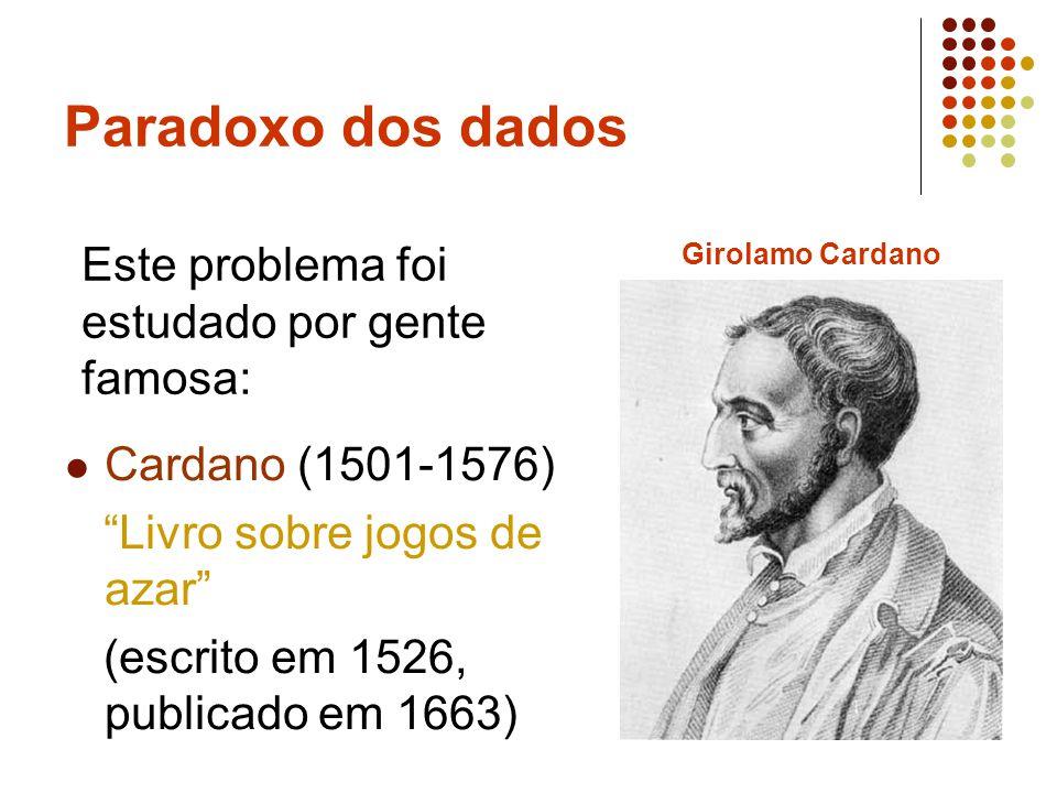 Paradoxo dos dados Galileu Galilei (1564- 1642) Sobre uma descoberta acerca dos dados (escrito entre 1613 e 1623) Galileu Galilei