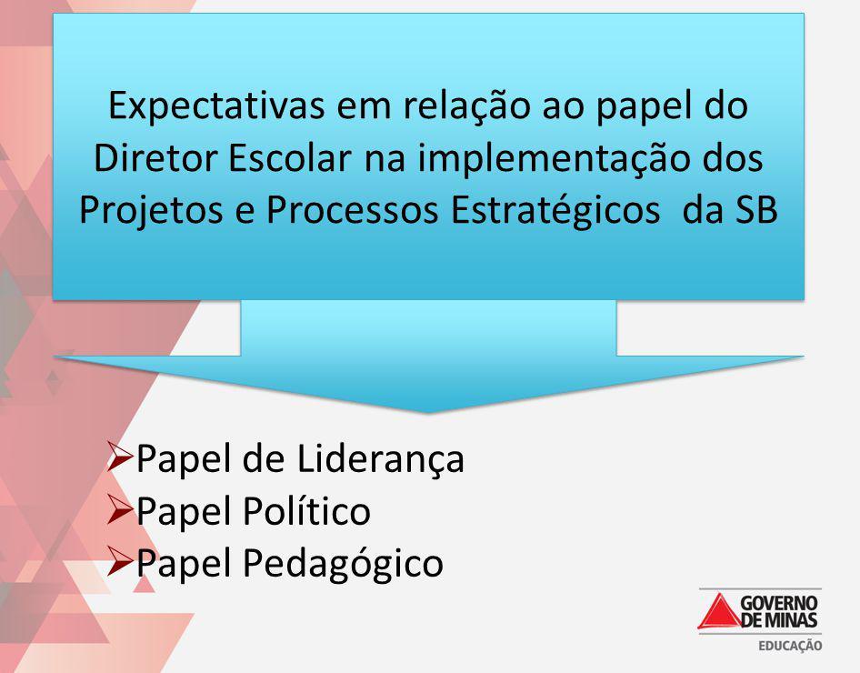 Expectativas em relação ao papel do Diretor Escolar na implementação dos Projetos e Processos Estratégicos da SB Papel de Liderança Papel Político Pap