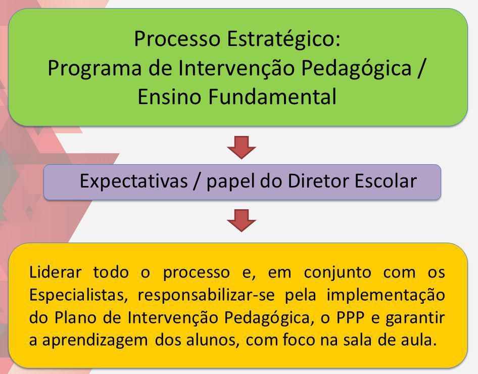Processo Estratégico: Programa de Intervenção Pedagógica / Ensino Fundamental Liderar todo o processo e, em conjunto com os Especialistas, responsabil