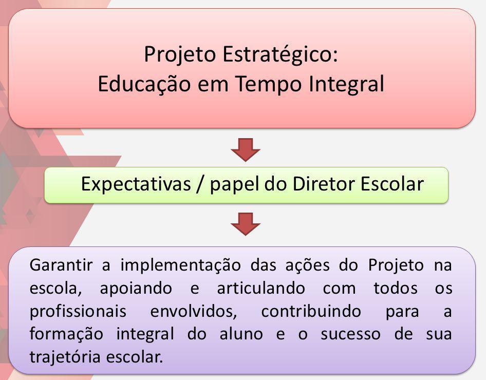 Projeto Estratégico: Educação em Tempo Integral Garantir a implementação das ações do Projeto na escola, apoiando e articulando com todos os profissio