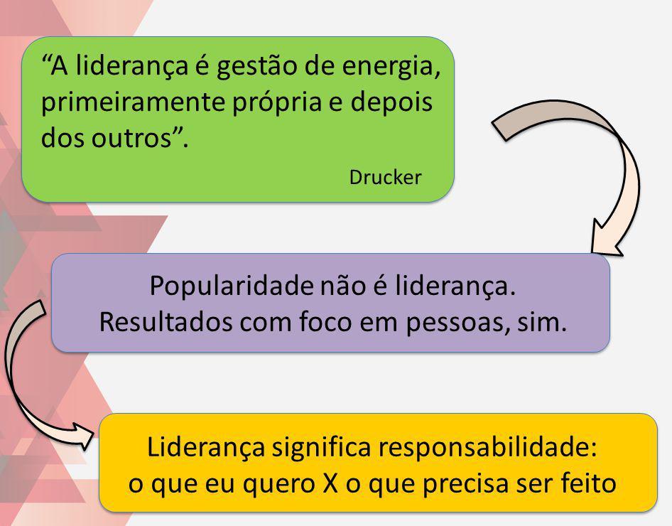 A liderança é gestão de energia, primeiramente própria e depois dos outros. Drucker Liderança significa responsabilidade: o que eu quero X o que preci
