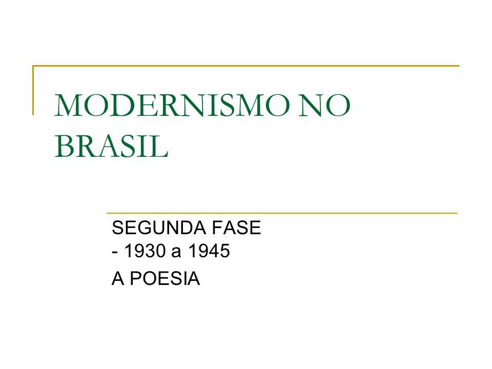 MODERNISMO NO BRASIL SEGUNDA FASE - 1930 a 1945 A POESIA