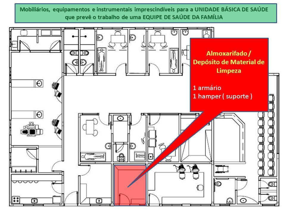 Mobiliários, equipamentos e instrumentais imprescindíveis para a UNIDADE BÁSICA DE SAÚDE que prevê o trabalho de uma EQUIPE DE SAÚDE DA FAMÍLIA Almoxa