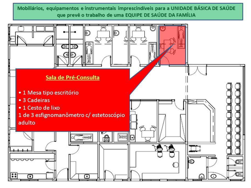 Mobiliários, equipamentos e instrumentais imprescindíveis para a UNIDADE BÁSICA DE SAÚDE que prevê o trabalho de uma EQUIPE DE SAÚDE DA FAMÍLIA Sala d