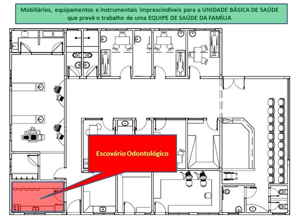 Mobiliários, equipamentos e instrumentais imprescindíveis para a UNIDADE BÁSICA DE SAÚDE que prevê o trabalho de uma EQUIPE DE SAÚDE DA FAMÍLIA Escová