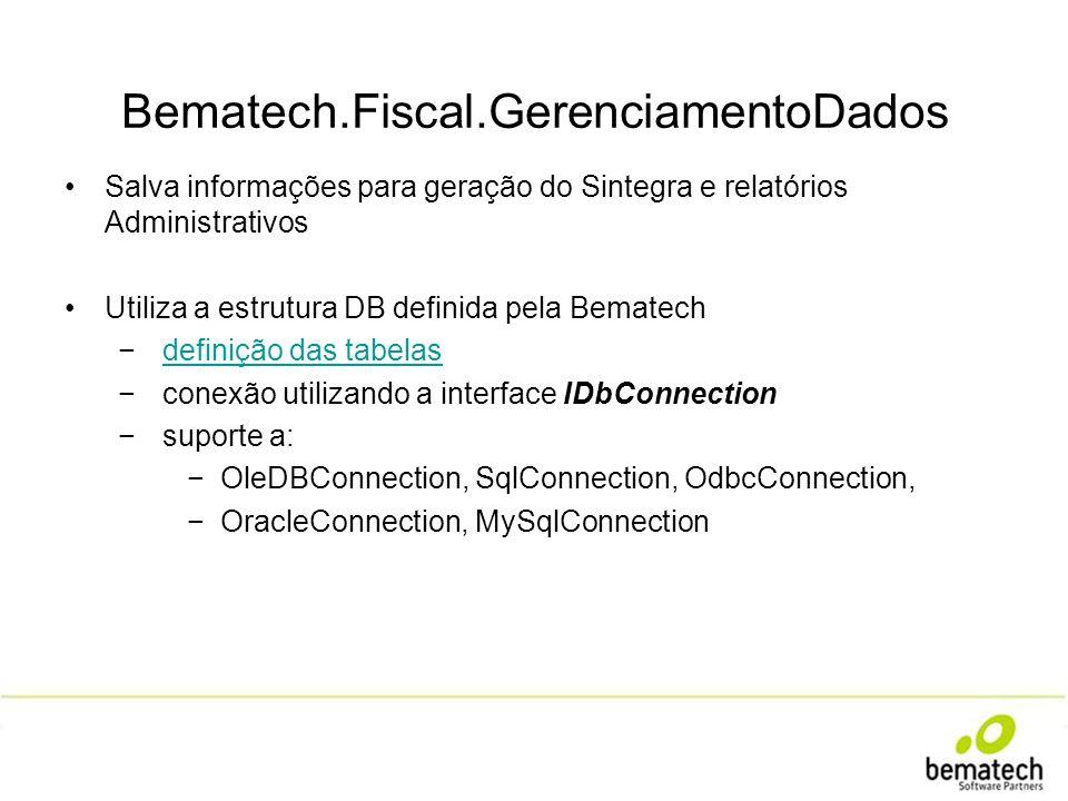 Bematech.Fiscal.GerenciamentoDados Salva informações para geração do Sintegra e relatórios Administrativos Utiliza a estrutura DB definida pela Bemate