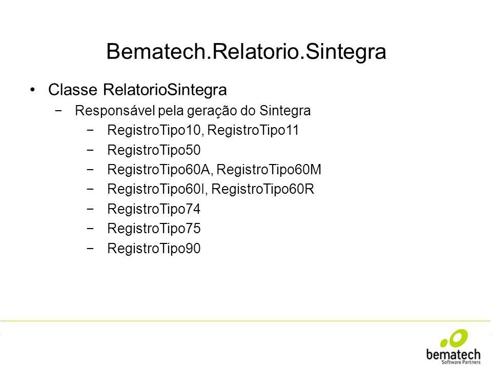 Classe RelatorioSintegra Responsável pela geração do Sintegra RegistroTipo10, RegistroTipo11 RegistroTipo50 RegistroTipo60A, RegistroTipo60M RegistroT