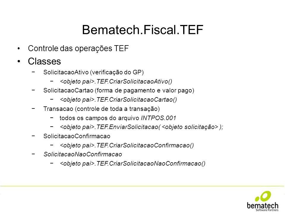 Bematech.Fiscal.TEF Controle das operações TEF Classes SolicitacaoAtivo (verificação do GP).TEF.CriarSolicitacaoAtivo() SolicitacaoCartao (forma de pa