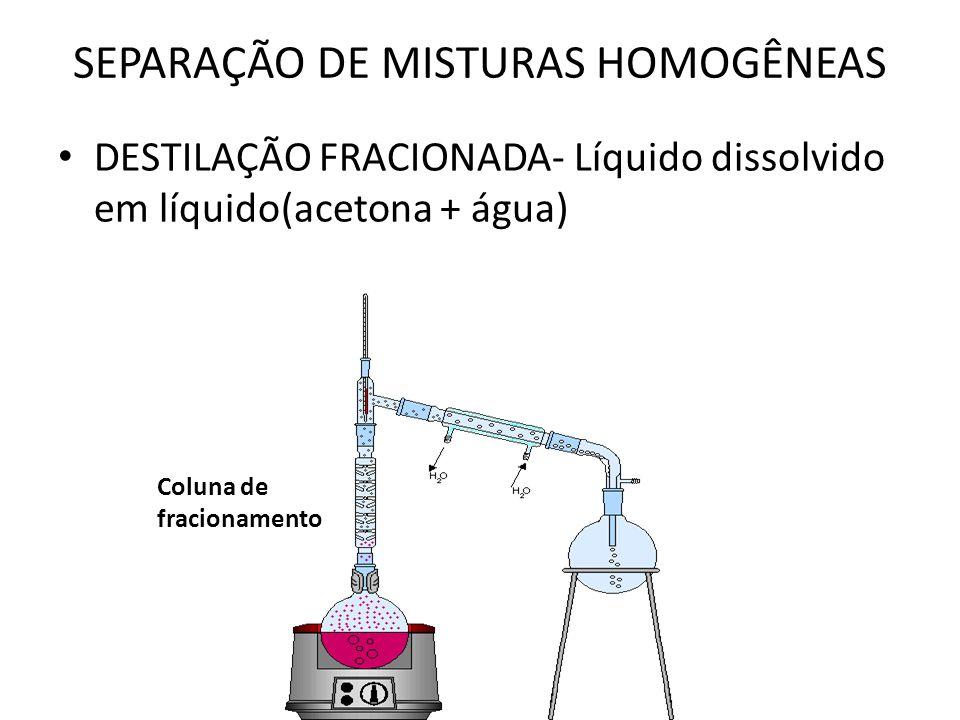 SEPARAÇÃO DE MISTURAS HOMOGÊNEAS DESTILAÇÃO FRACIONADA- Líquido dissolvido em líquido(acetona + água) Coluna de fracionamento