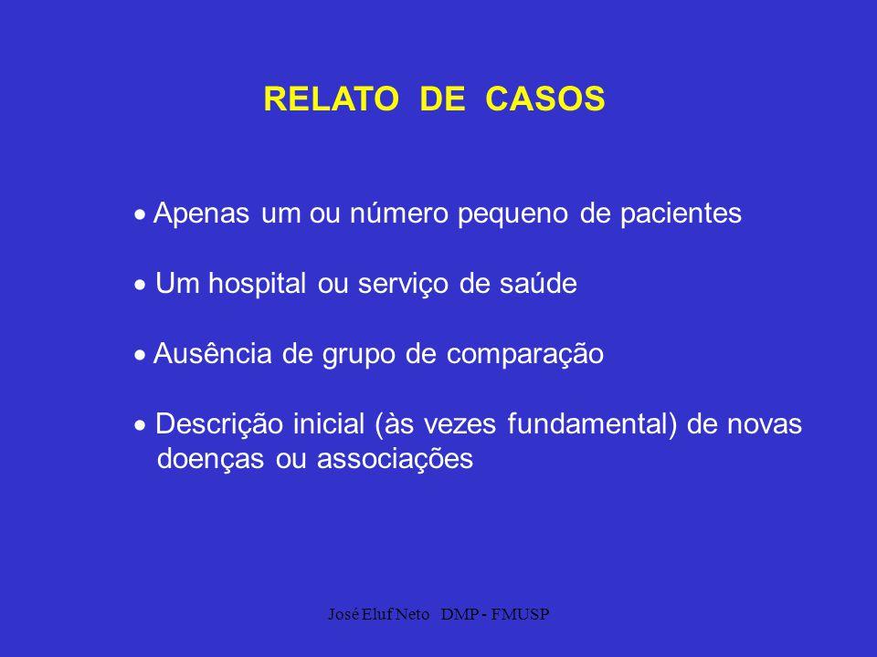 José Eluf Neto DMP - FMUSP RELATO DE CASOS Apenas um ou número pequeno de pacientes Um hospital ou serviço de saúde Ausência de grupo de comparação De