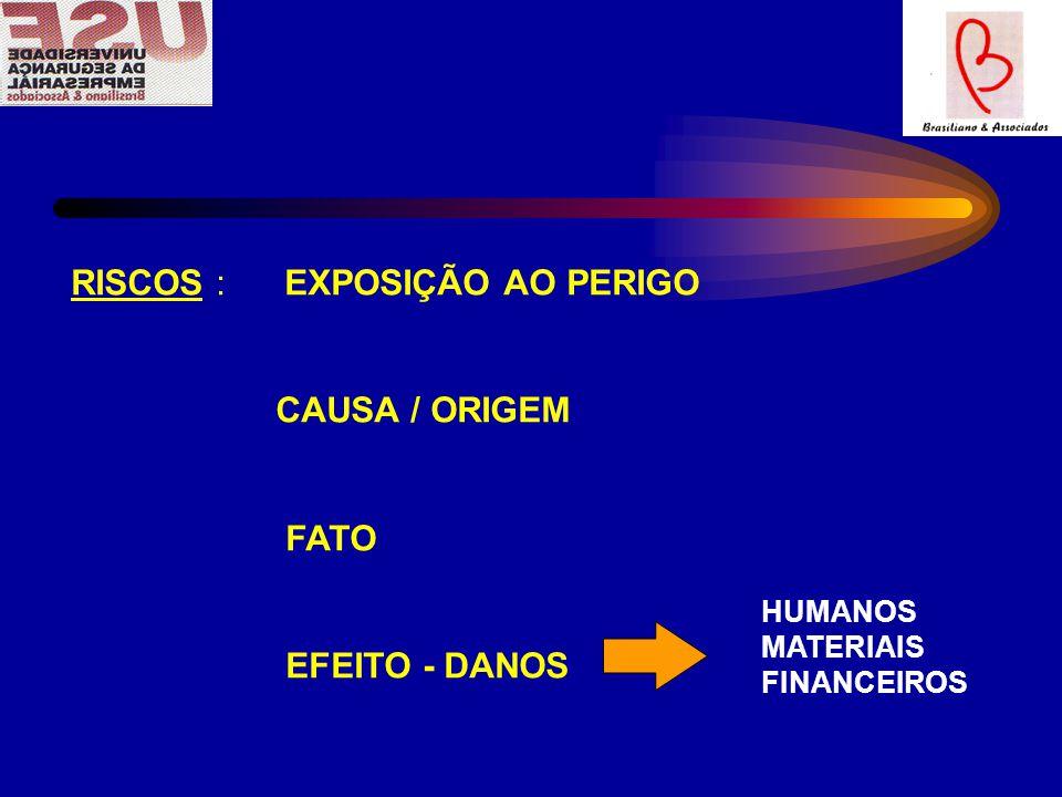 RISCOS : EXPOSIÇÃO AO PERIGO CAUSA / ORIGEM FATO EFEITO - DANOS HUMANOS MATERIAIS FINANCEIROS