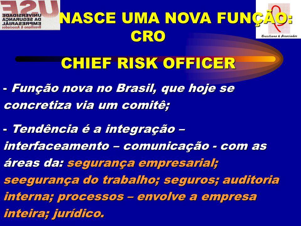 NASCE UMA NOVA FUNÇÃO: CRO NASCE UMA NOVA FUNÇÃO: CRO CHIEF RISK OFFICER - Função nova no Brasil, que hoje se concretiza via um comitê; - Tendência é a integração – interfaceamento – comunicação - com as áreas da: segurança empresarial; seegurança do trabalho; seguros; auditoria interna; processos – envolve a empresa inteira; jurídico.
