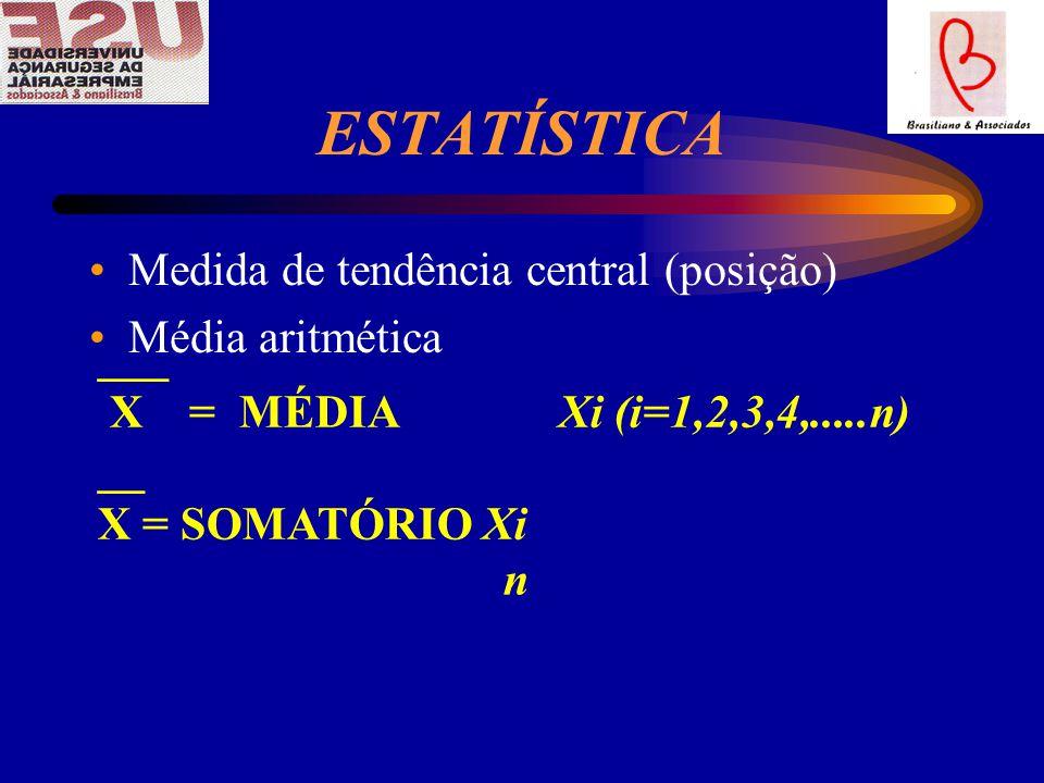 ESTATÍSTICA Medida de tendência central (posição) Média aritmética ___ X = MÉDIA Xi (i=1,2,3,4,.....n) __ X = SOMATÓRIO Xi n
