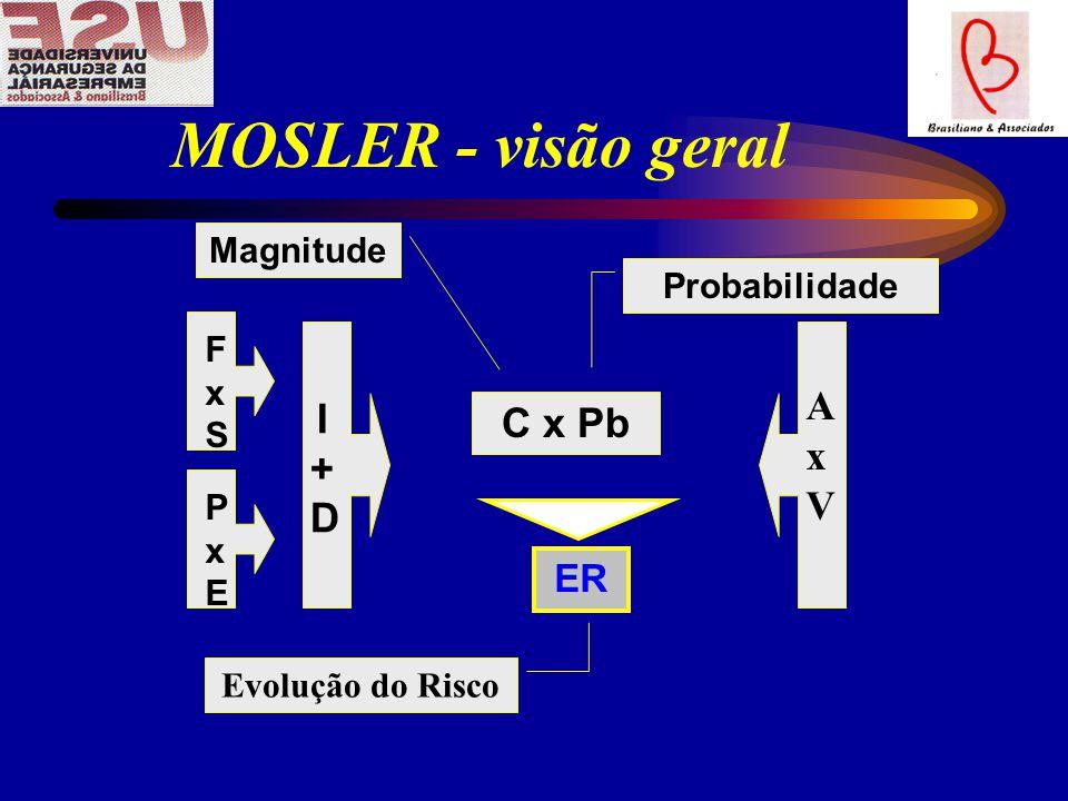 MOSLER - visão geral FxSFxS PxEPxE I+DI+D AxVAxV C x Pb ER Probabilidade Magnitude Evolução do Risco