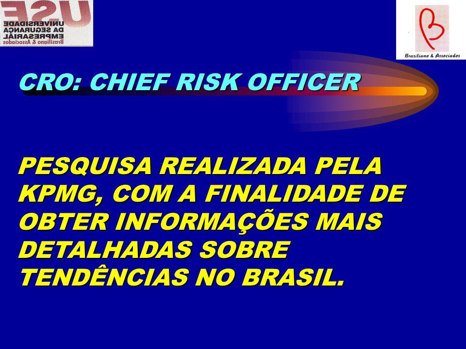 CRO: CHIEF RISK OFFICER PESQUISA REALIZADA PELA KPMG, COM A FINALIDADE DE OBTER INFORMAÇÕES MAIS DETALHADAS SOBRE TENDÊNCIAS NO BRASIL.