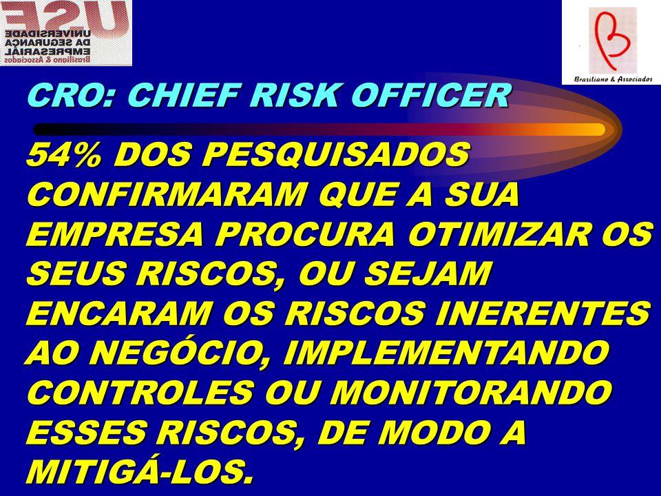 CRO: CHIEF RISK OFFICER 54% DOS PESQUISADOS CONFIRMARAM QUE A SUA EMPRESA PROCURA OTIMIZAR OS SEUS RISCOS, OU SEJAM ENCARAM OS RISCOS INERENTES AO NEGÓCIO, IMPLEMENTANDO CONTROLES OU MONITORANDO ESSES RISCOS, DE MODO A MITIGÁ-LOS.