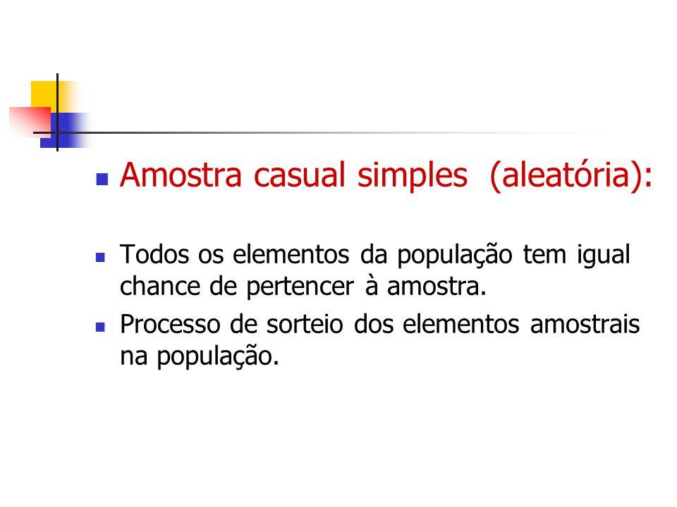 Amostra casual simples (aleatória): Todos os elementos da população tem igual chance de pertencer à amostra. Processo de sorteio dos elementos amostra