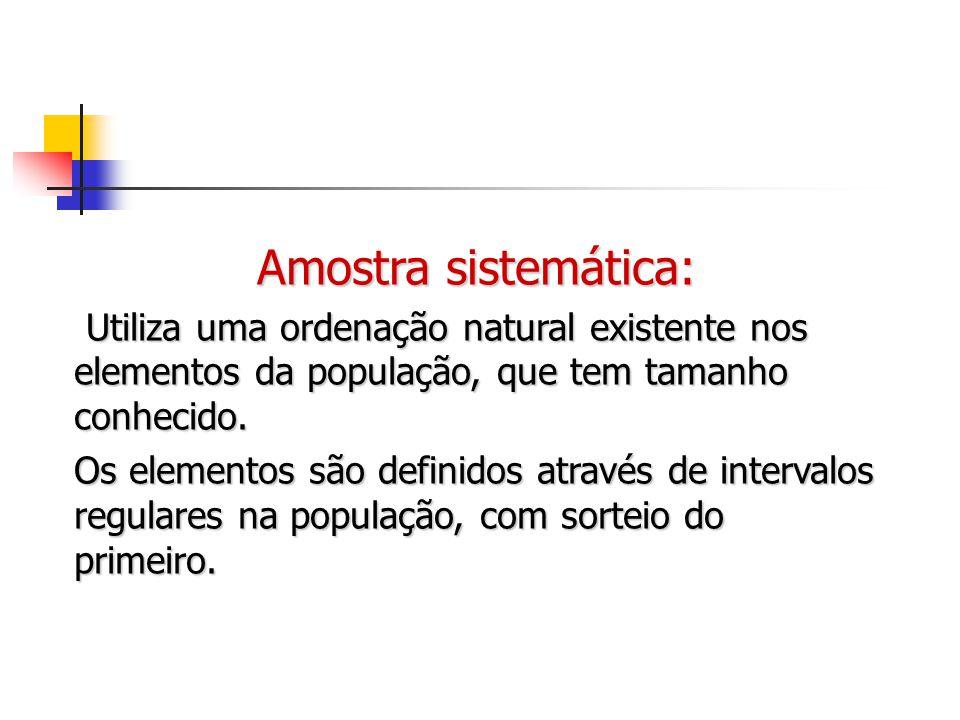 Amostra sistemática: Utiliza uma ordenação natural existente nos elementos da população, que tem tamanho conhecido. Utiliza uma ordenação natural exis