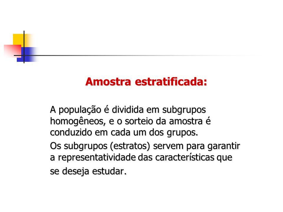 Amostra estratificada: A população é dividida em subgrupos homogêneos, e o sorteio da amostra é conduzido em cada um dos grupos. Os subgrupos (estrato